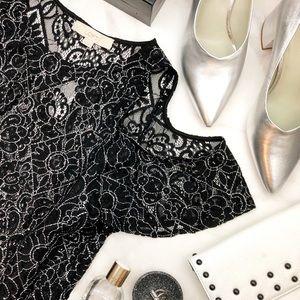 Black Cold Shoulder Contrast Thread Sheer Blouse